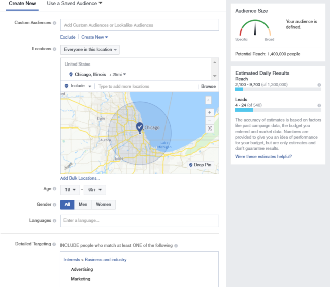 Facebook recruiting allows you to target candidates in the specific location