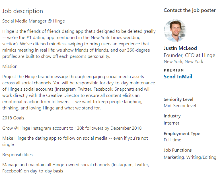 Job descriptions designed for social media managers must be incredibly detailed
