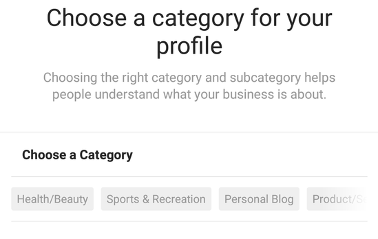 choose a category for your profile
