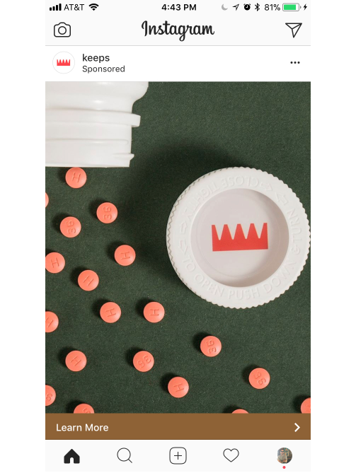 keeps instagram image top to bottom ad