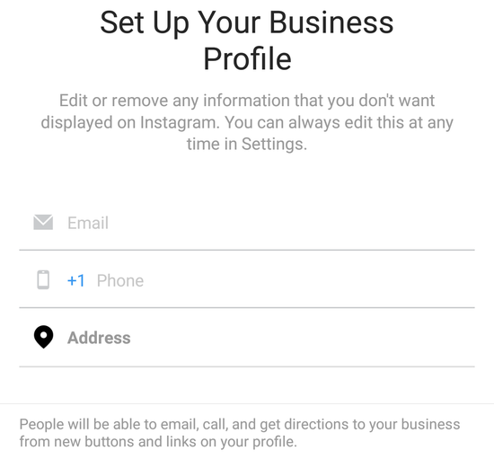 setup your instagram business profile contact information