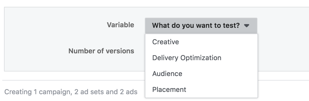 Facebook's split test feature for, allowing users to pick between factors in their ads to test