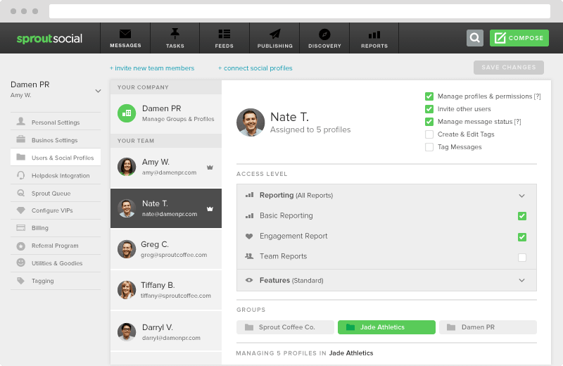 sprout social permission settings
