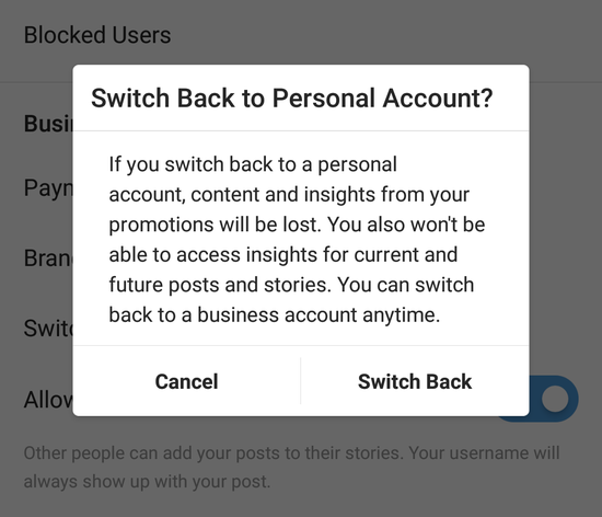 switch returning to personal account notification