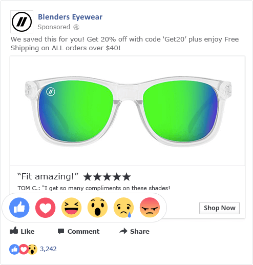 Blenders Eyewear Facebook Ad