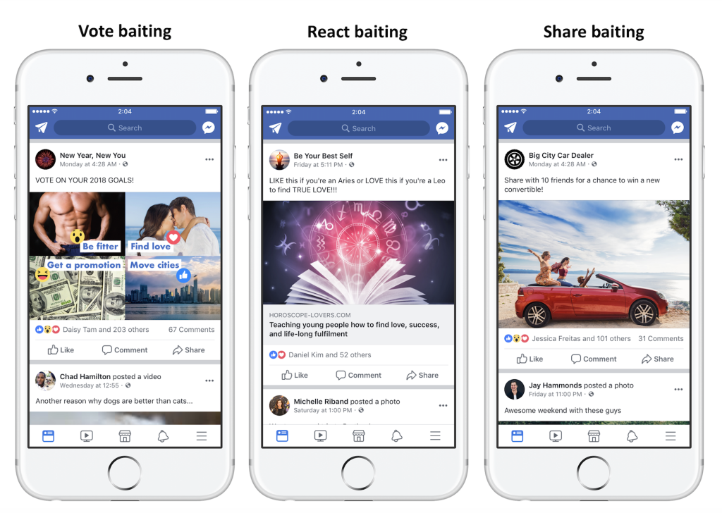 Facebook now positively discourages posts which basically plead for engagement