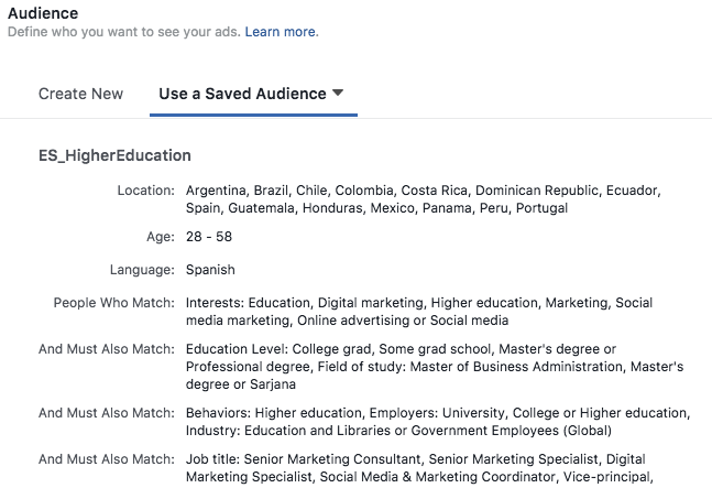 facebook concentrating on higher education example