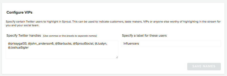 Sprout Social Vip's list