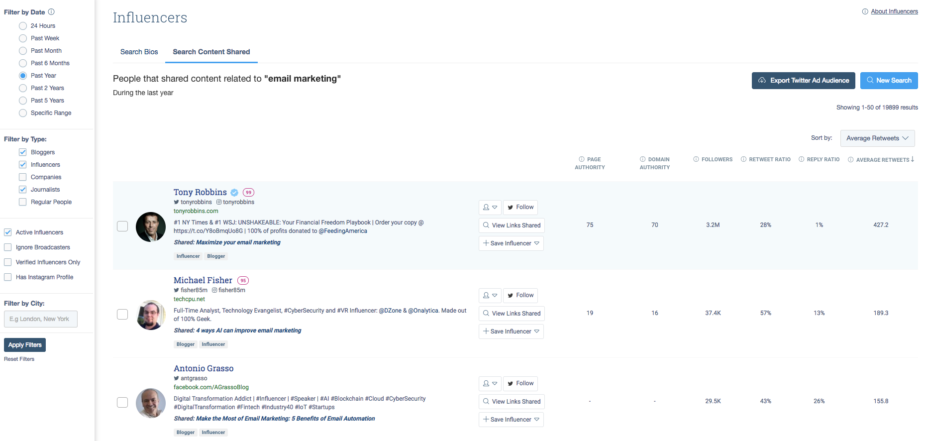 buzzsumo changer search results