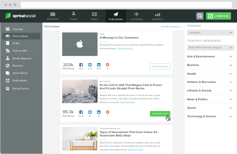 If you're struggling for articles ideas, consider how Sprout could make suggestions for you