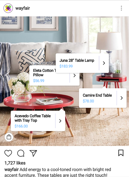 wayfair instagram shoppable post