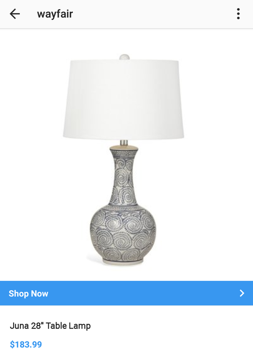 wayfair instagram shopping getting page