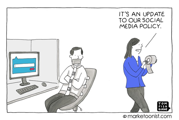 Marketoonist Social networking Policy Cartoon