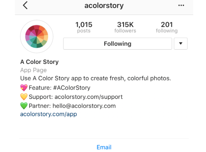 An optimized Instagram accounts includes relevant links, hashtags as well as a taste of your brand's mission