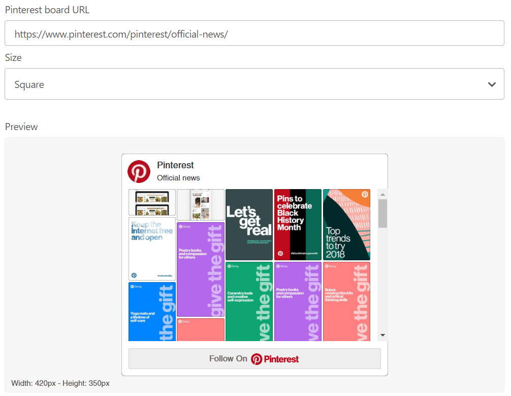 Pinterest's widget builder makes it simple to integrate Pinterest on your website
