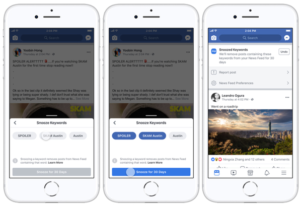 Facebook's New Customized Snooze Tool