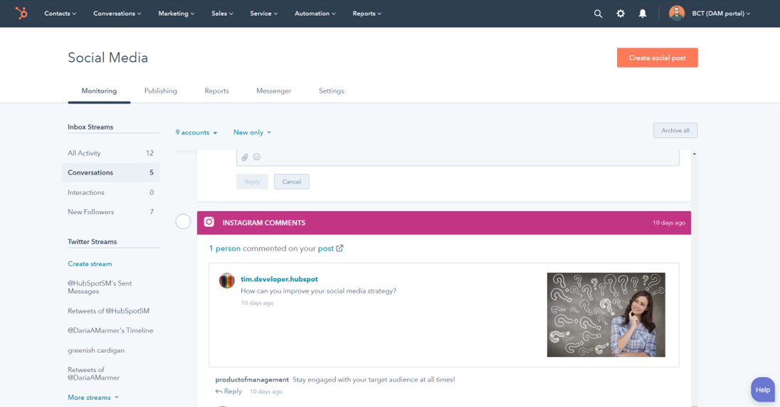 Hubspot highlights interactions in between social followers, including leads gathered via your CRM.