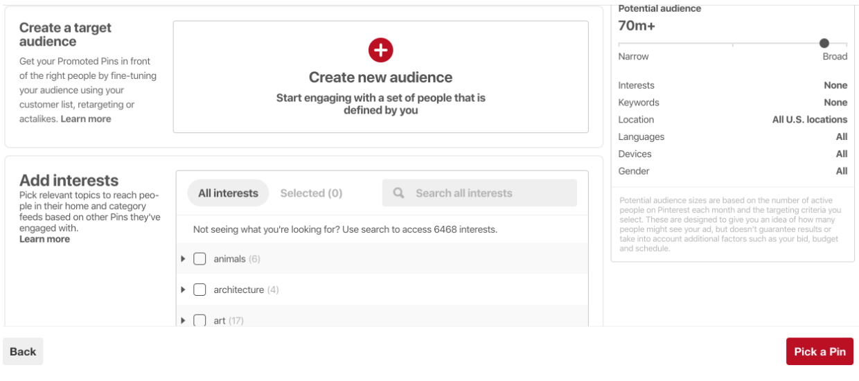 Pinterest audience settings