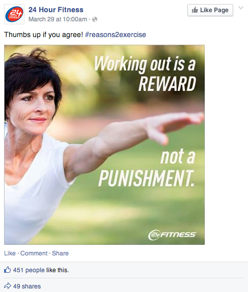 24 hr fitness facebook post