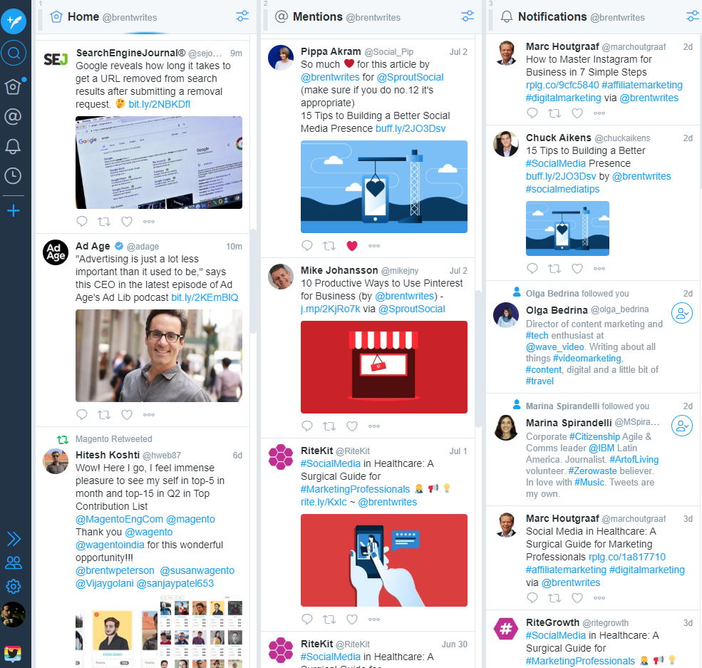 Tweetdeck provides a real-time overview of your Tweets activity in one place