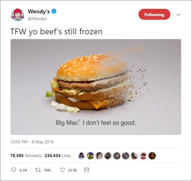 Wendy's Custom Image Example upon Twitter