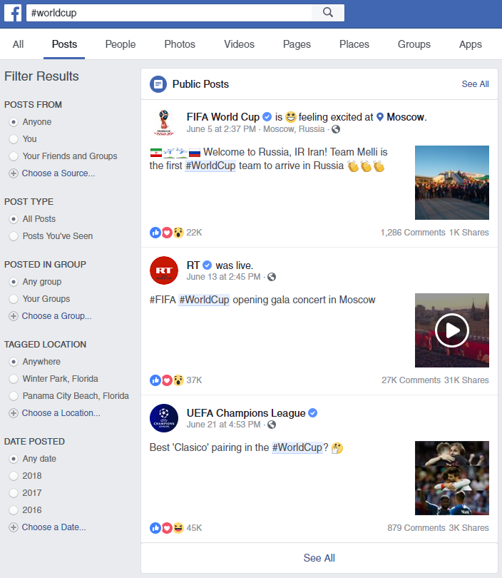 Searching hashtags on Facebook typically leads to posts with high engagement