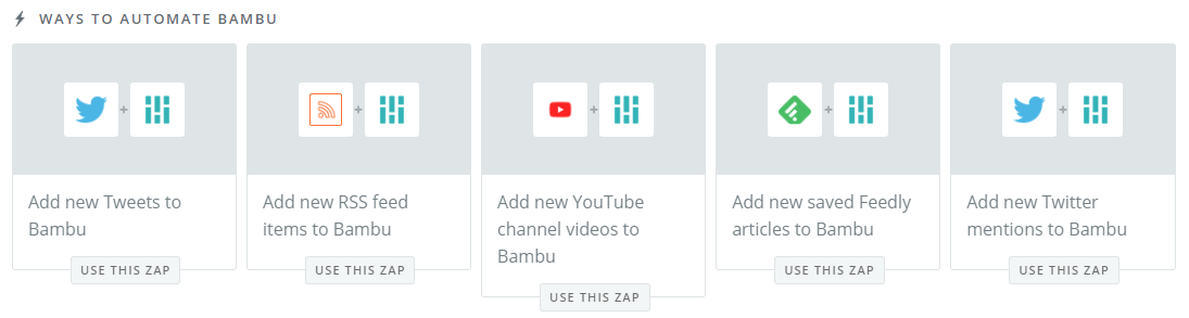 Social media management tools like Bambu integrate seamlessly with Zapier inch width=