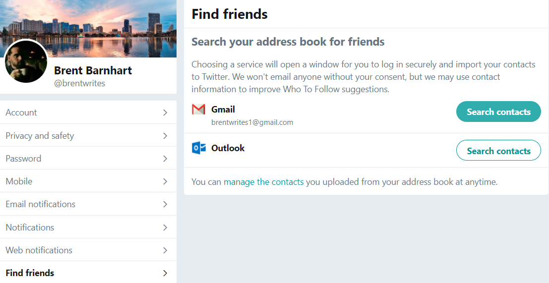 Importing your email contacts is a great strategy for finding Twitter followers