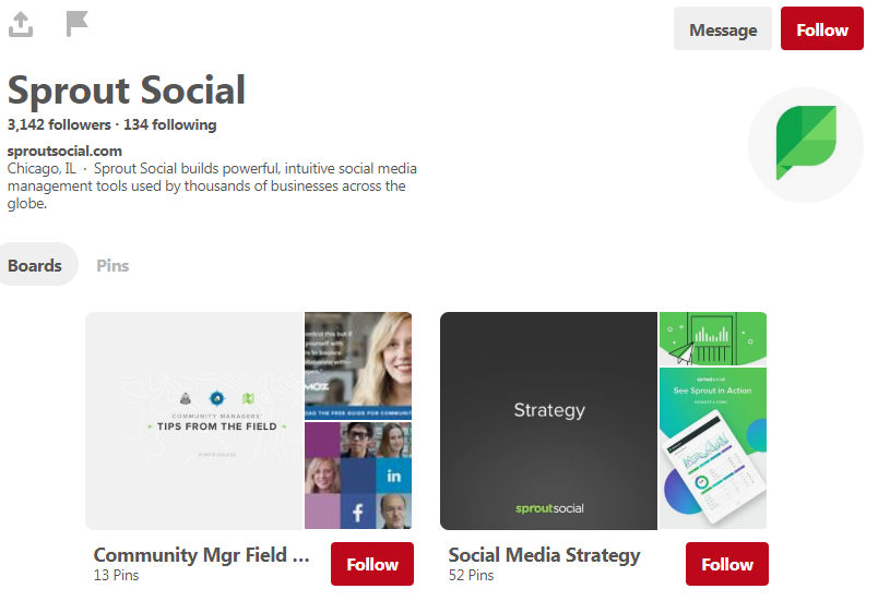The Develop Social Pinterest home page