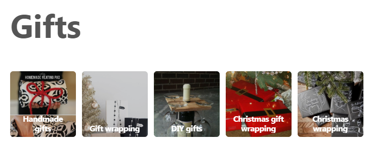 """The """"Gifts"""" section upon Pinterest"""