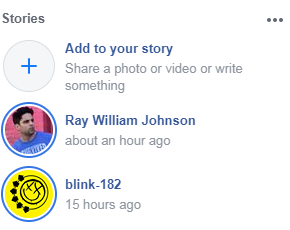 """An example of the Facebook """"Stories Row"""" feature"""