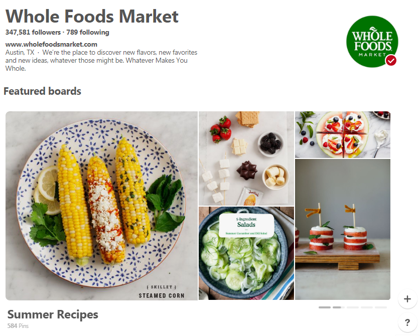 Whole Foods Market Pinterest house page