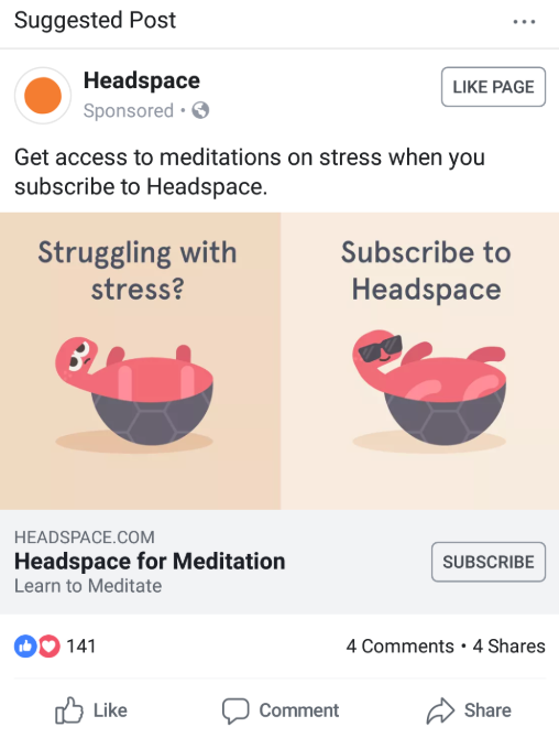 Brands like Headspace operate a paid & organic social media technique that stays on-point with their brand