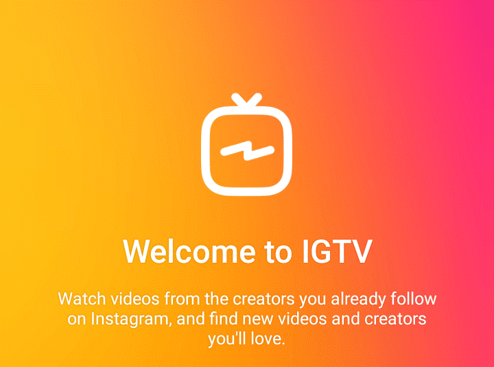 Screen chance of the IGTV screen