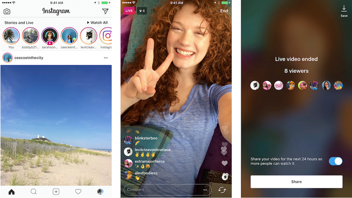Selection of example images obtained from Instagram Live