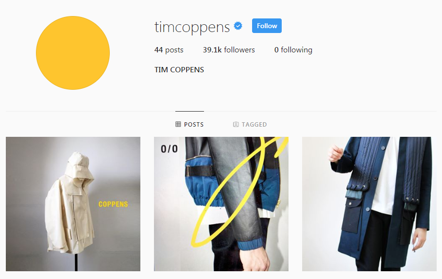 Screenshot of the front page connected with Tim Coppen's Instagram page