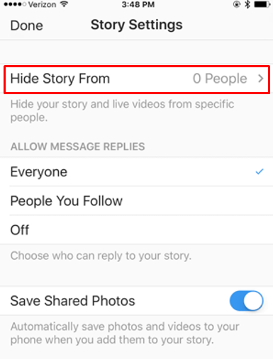 "Screenshot of the ""Hide Story"" option on Instagram Reside settings"