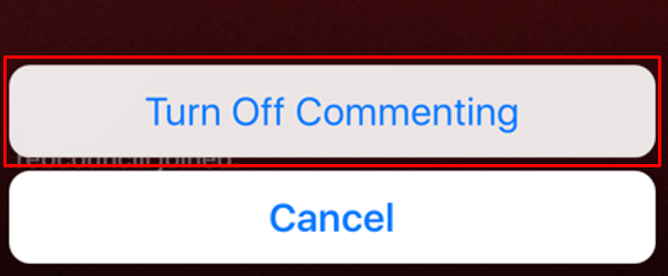 Picture of the Instagram button to turn off of commenting