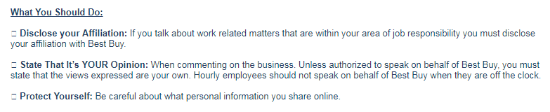Best Purchase Social Media Policy Snippet