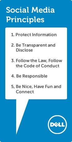 Dell's list of rules intended for social media