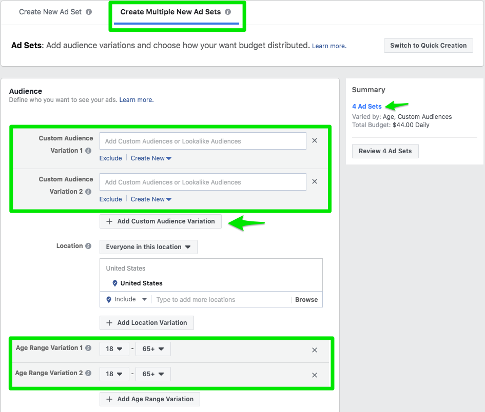Facebook's ad targeting allows you to bring in ads to multiple audiences