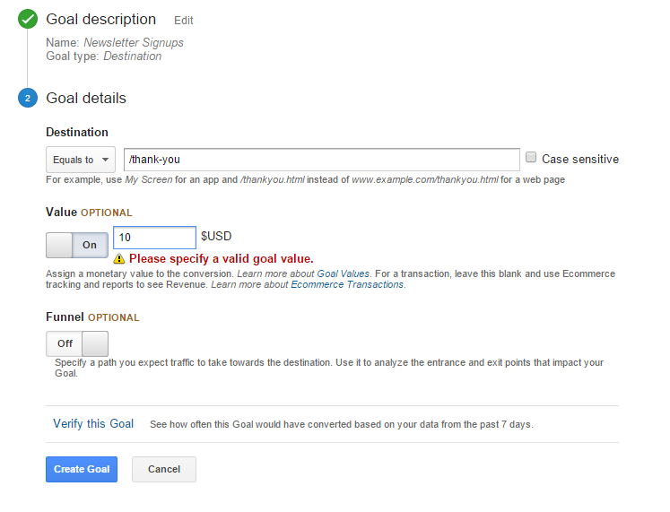 Setting goals in Google Analytics can help much better understand your social traffic