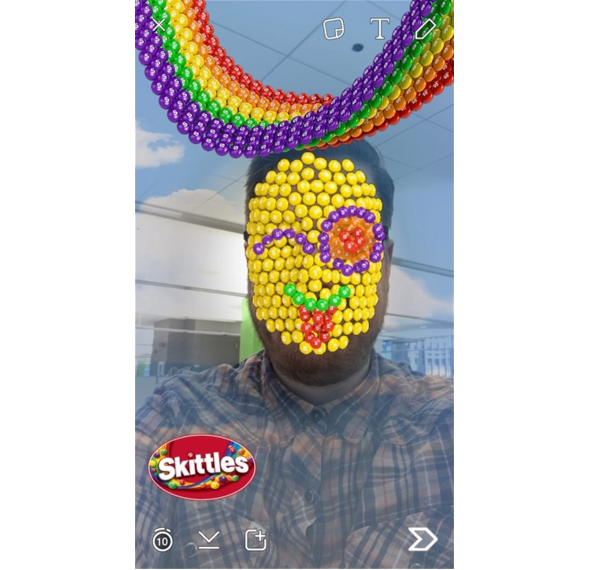 snapchat skittles entire face filter example