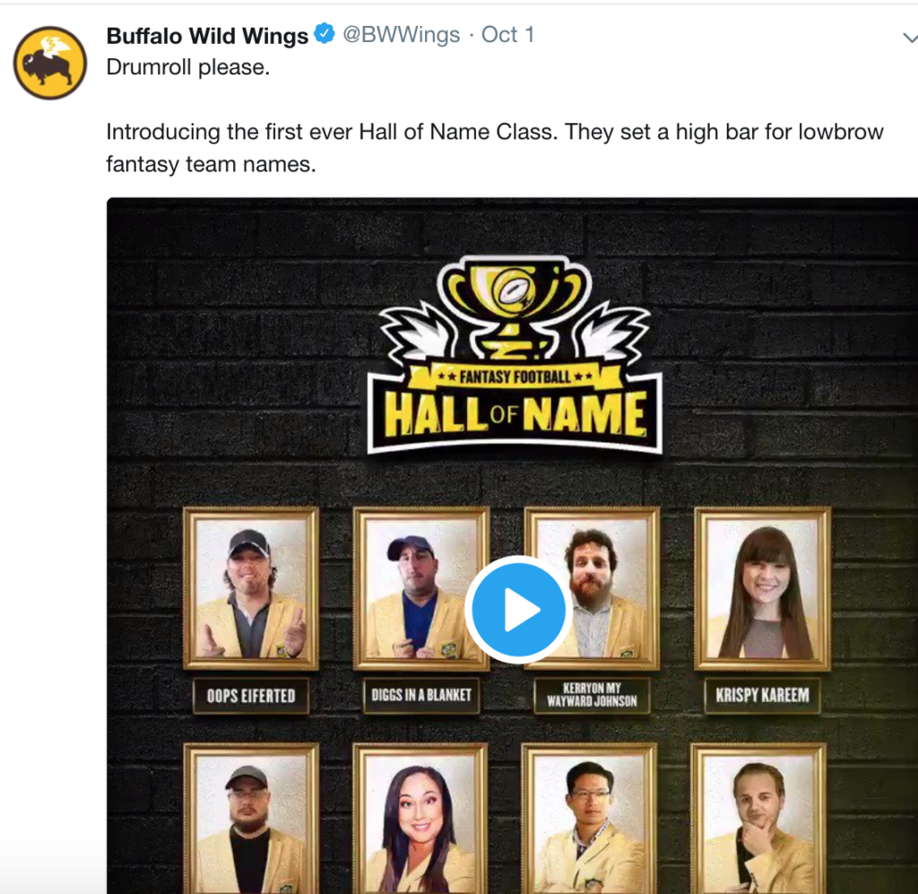 buffalo wild wings hall of user name twitter post