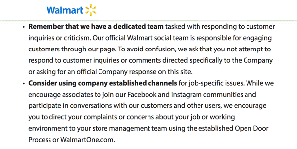 Screenshot of the Walmart Social networking Policy