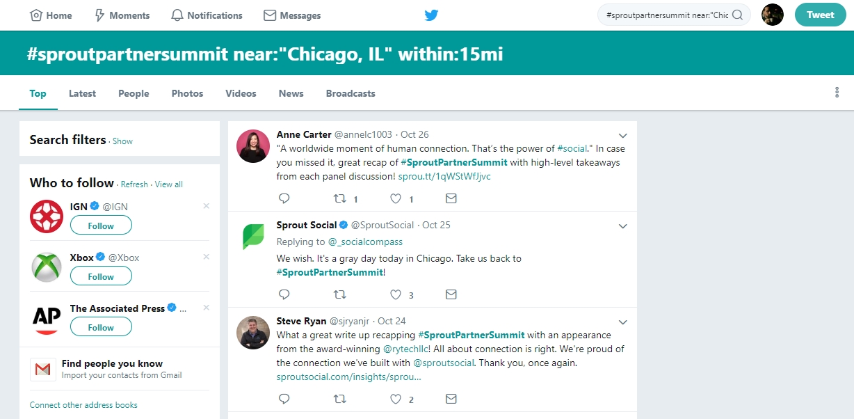 Twitter advanced search is useful pertaining to real-time updates on any given event