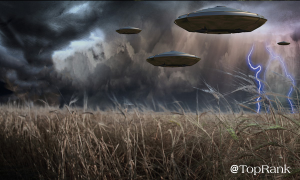 UFOs over field of lawn image.