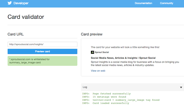 Screenshot of the Card Validator tool for Twitter Cards
