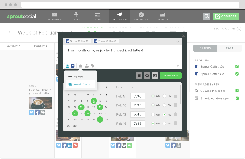 Full entry to your Facebook Page means complete access to Sprout's scheduling features