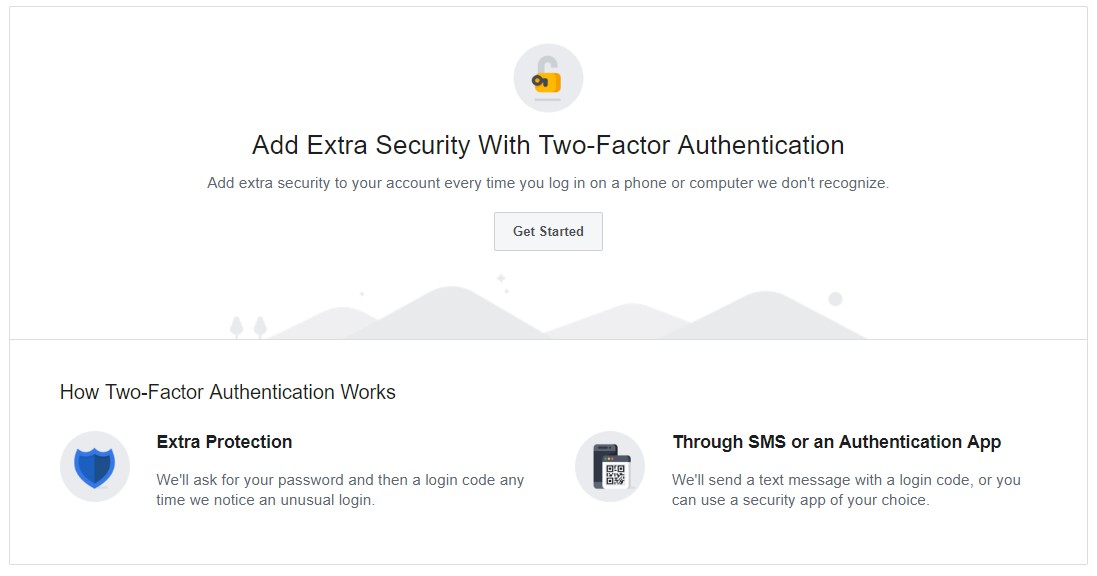 two element authentication on Facebook